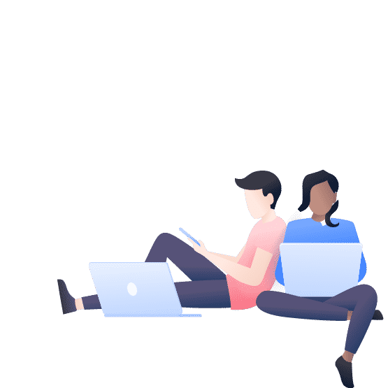 illustration of a couple sitting on computers
